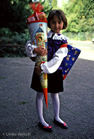 "Firstgrader on first day to school with her ""Schultuete"", Germany:  GEL2_5"
