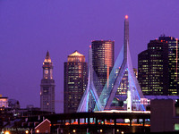 The Zakim Bridge at night, Boston, MA: CLBoNi4_1
